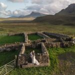 Destination Wedding Photographers and Videographers Isle of Skye Alanna and Brianna lesbian wedding drone photo Quiraing