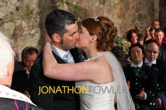 Newly-wed first kiss at Dirleton Castle