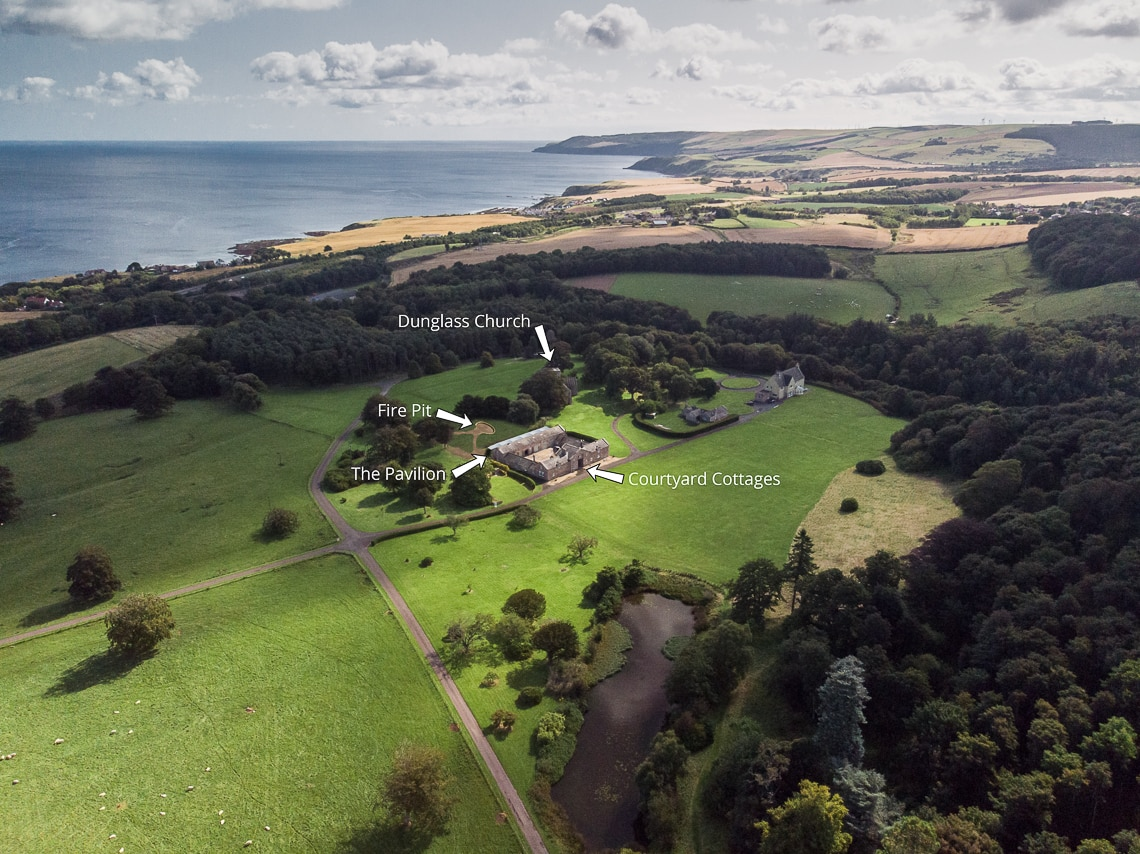 Dunglass Estate aerial photo of pond and Courtyard Cottages
