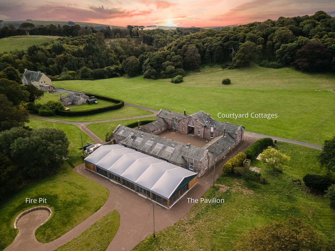 Dunglass Estate aerial view of Pavilion, Courtyard Cottages and Fire Pit
