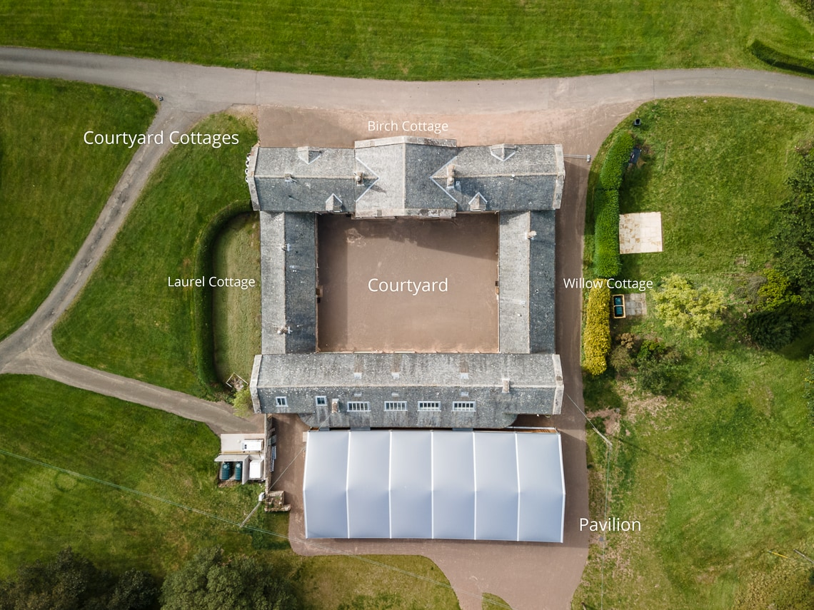 Dunglass Estate aerial view of Pavilion and Cottages