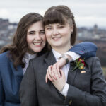 newly-wed lesbian couple at Arthur's Seat