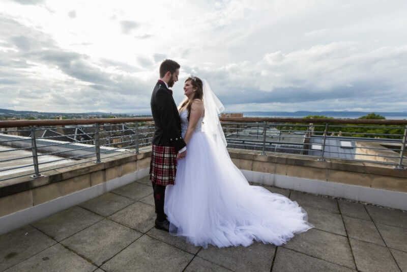 Edinburgh George Hotel Forth View Suite Patio - Cheryl and Daniel newlyweds