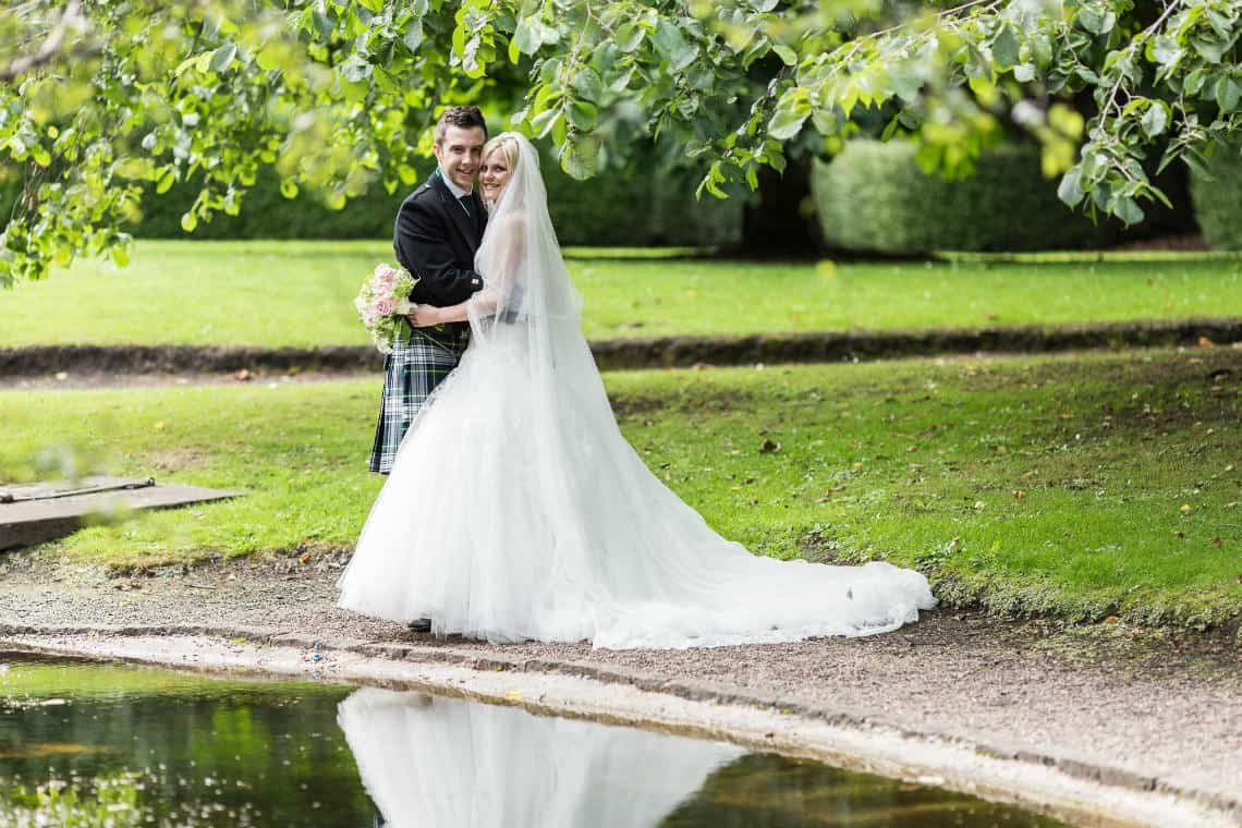 The George Hotel Edinburgh newly-weds at Queen Street Gardens