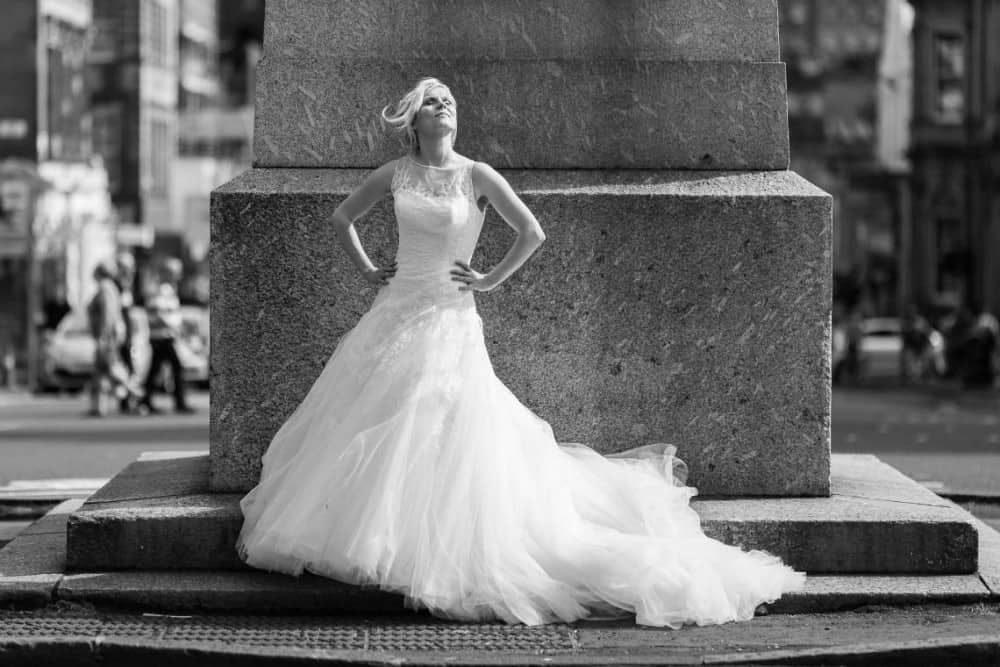 Bride Clare strikes a beautiful pose on George Street
