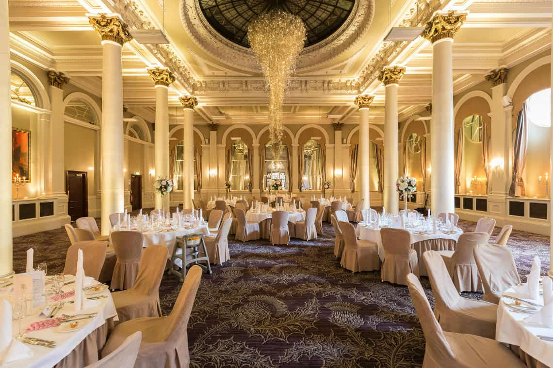 The King's Hall set up for the wedding breakfast at The Principal Edinburgh Hotel