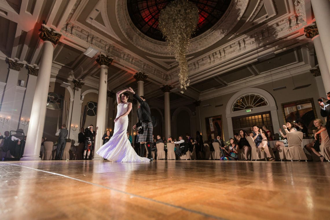 newlyweds' first dance in the King's Hall