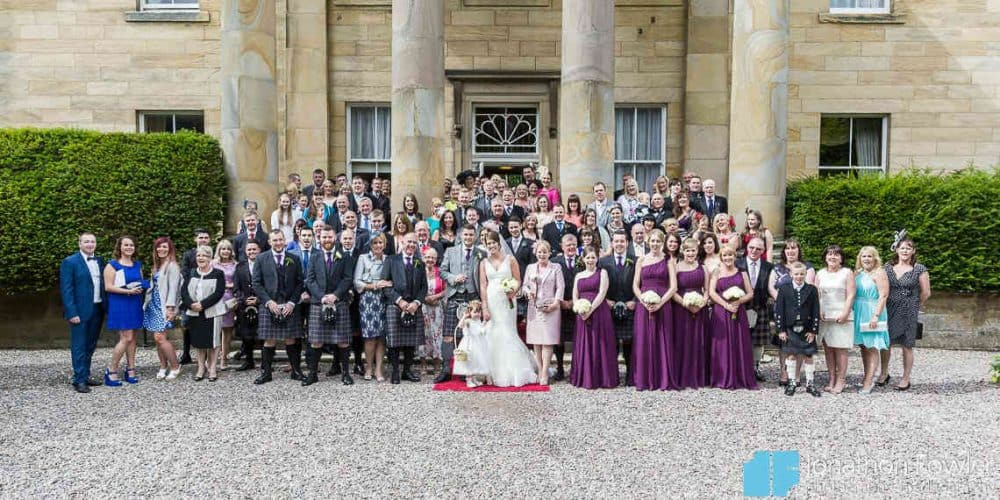 Group photo on the steps at the entrance to Balbirnie House