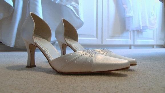 Edinburgh wedding video bridal preparations photo of bride's shoes
