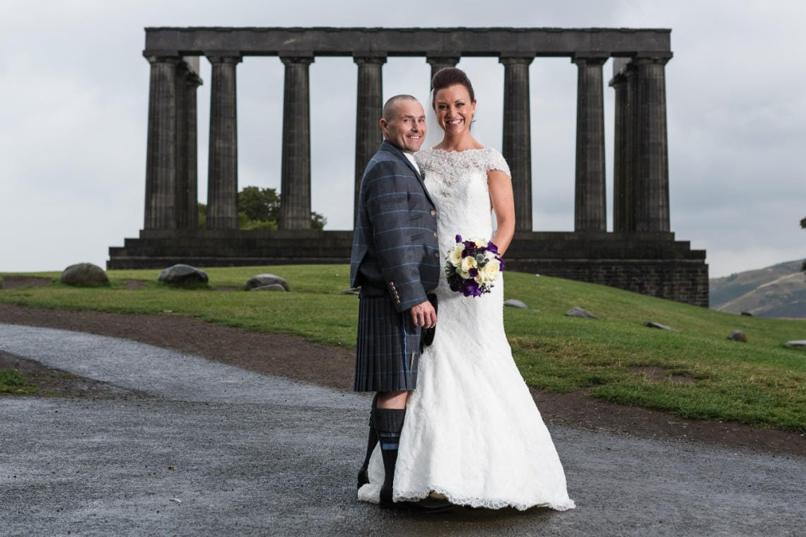 Mansfield Traquair Wedding - Garry and Lynsey on Calton Hill during their newlywed photo shoot