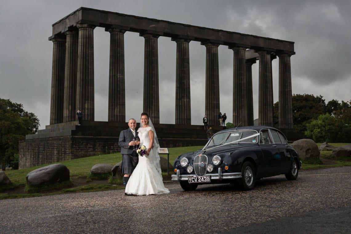 Mansfield Traquair Wedding - Garry and Lynsey- Calton Hill newly-wed photo