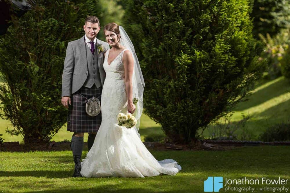 Newly-wed posed photo Balbirnie Gardens