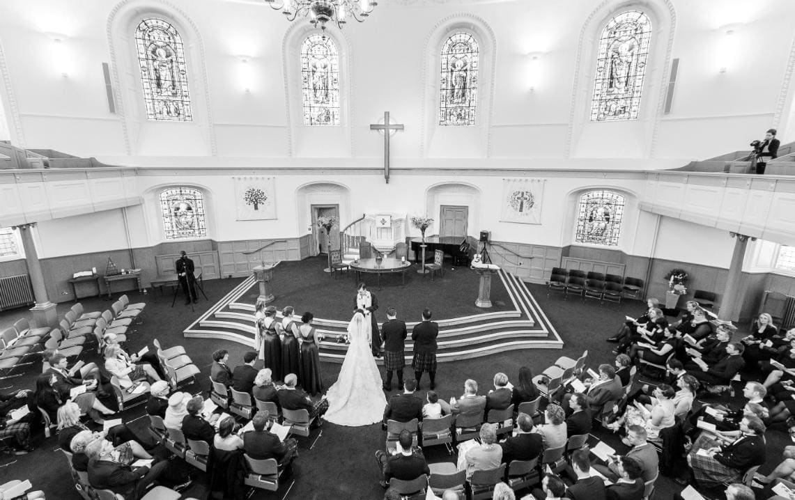St Andrew's and St George's West Church of Scotland marriage ceremony view from the balcony