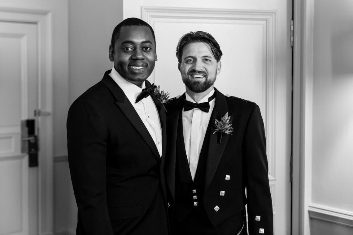 same-sex couple before wedding