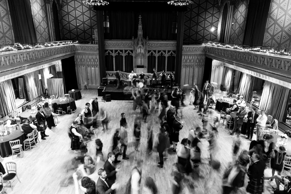 Ceilidh dancing in the Main Hall viewed from the balcony