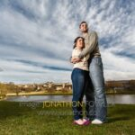 Amy and Kieran engagement photographer session at Inverleith Park with Inverleith Pond in the background