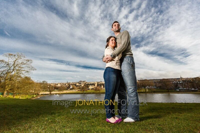 Amy and Kieran pre-wedding photo shoot at Inverleith Park with Inverleith Pond in the background